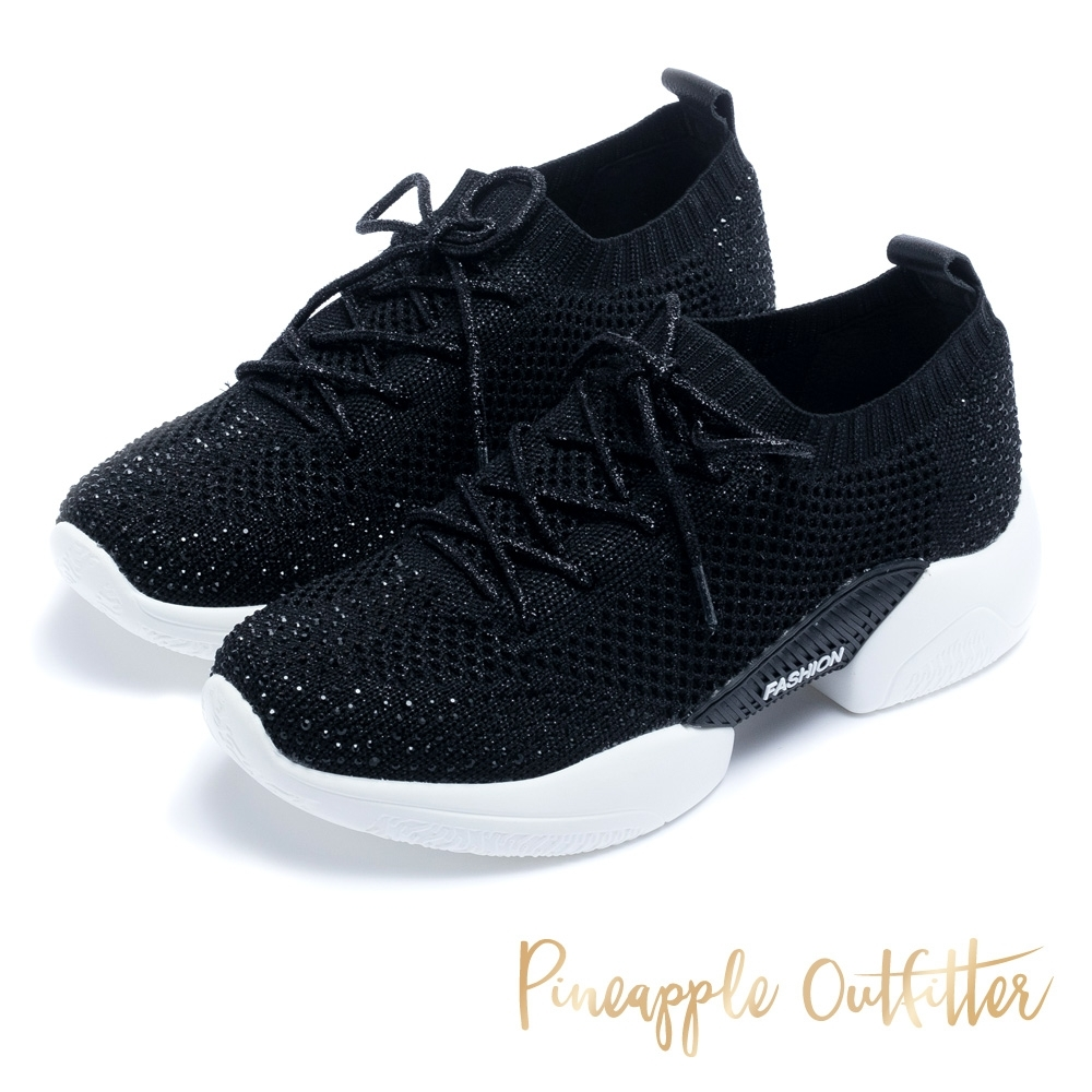 Pineapple Outfitter 閃耀晶鑽 運動風綁帶飛織厚底休閒鞋-黑色