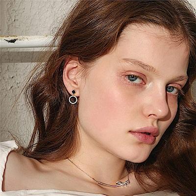 梨花HaNA 無耳洞韓國全鋯石黑鑽點鑽圈型耳環夾式