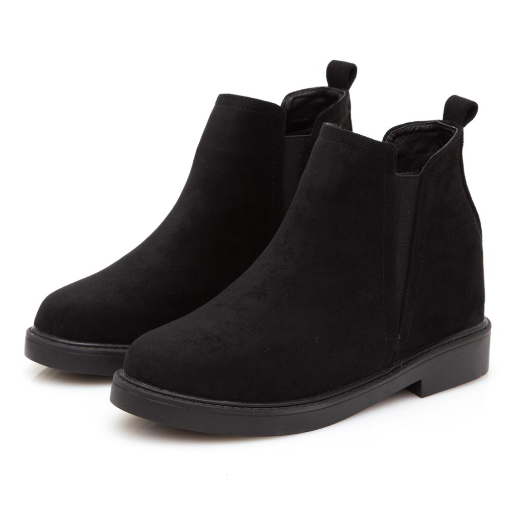 JMS-簡約百搭拼接鬆緊內增高短靴-黑色