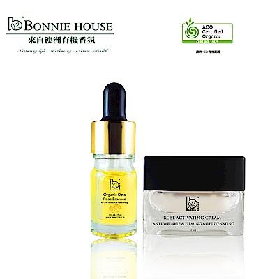 Bonnie House 有機奧圖玫瑰原精5ml+全效肌因玫瑰賦活煥采面霜15g