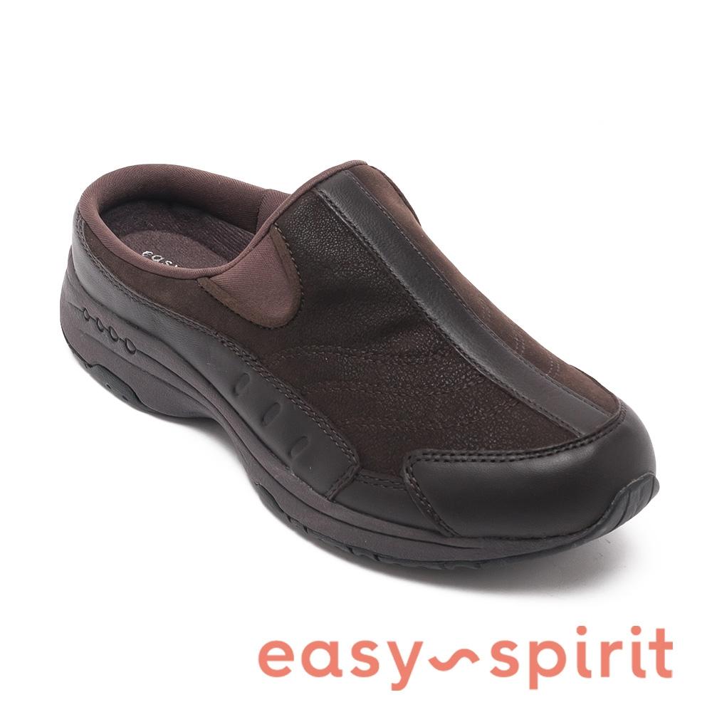 easy spirit-TRAVELTIME234 經典羊皮厚底休閒拖鞋-可可棕