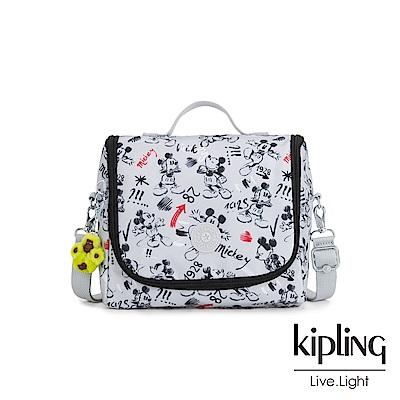 Kipling 米奇系列 經典手繪黑白米奇圖騰弧形拉鍊手提側背包-D KICHIROU