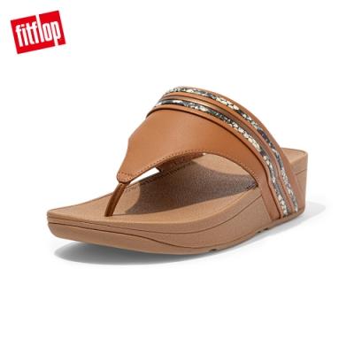 FitFlop OLIVE SNAKE BANGLE TRIM TOEPOST SANDALS 蛇紋夾腳涼鞋 女(淺褐色)