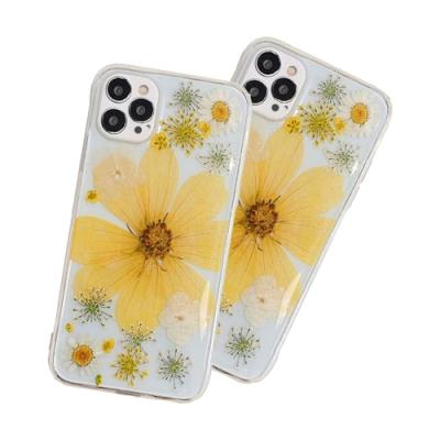 iPhone 12 Pro 透明 乾燥花 永生花 軟邊 手機殼 四邊 防摔 黃花 (iPhone12Pro手機殼 iPhone 12 Pro保護殼 )