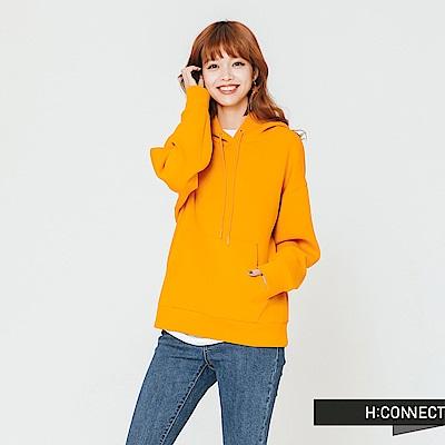 H:CONNECT 韓國品牌 女裝-後印字抽繩口袋帽T-黃