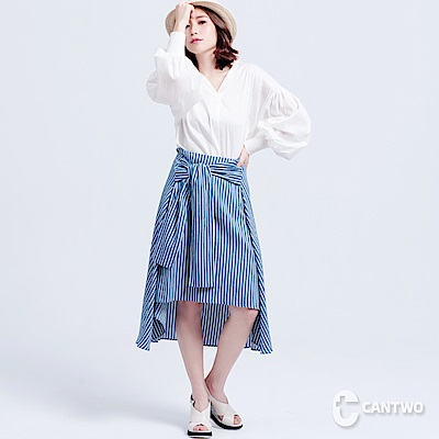 CANTWO條紋綁帶不對稱長裙共二色