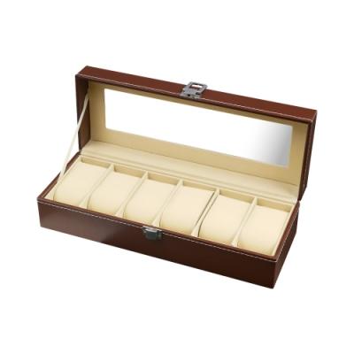 TRENY 6位手錶收納盒 - 經典皮革棕色