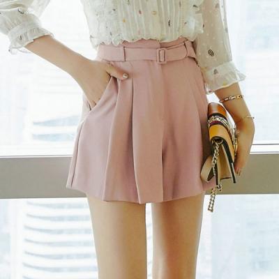 設計所在Lady-粉色短褲簡約休閒寬鬆A字寬管(S-XL可選)