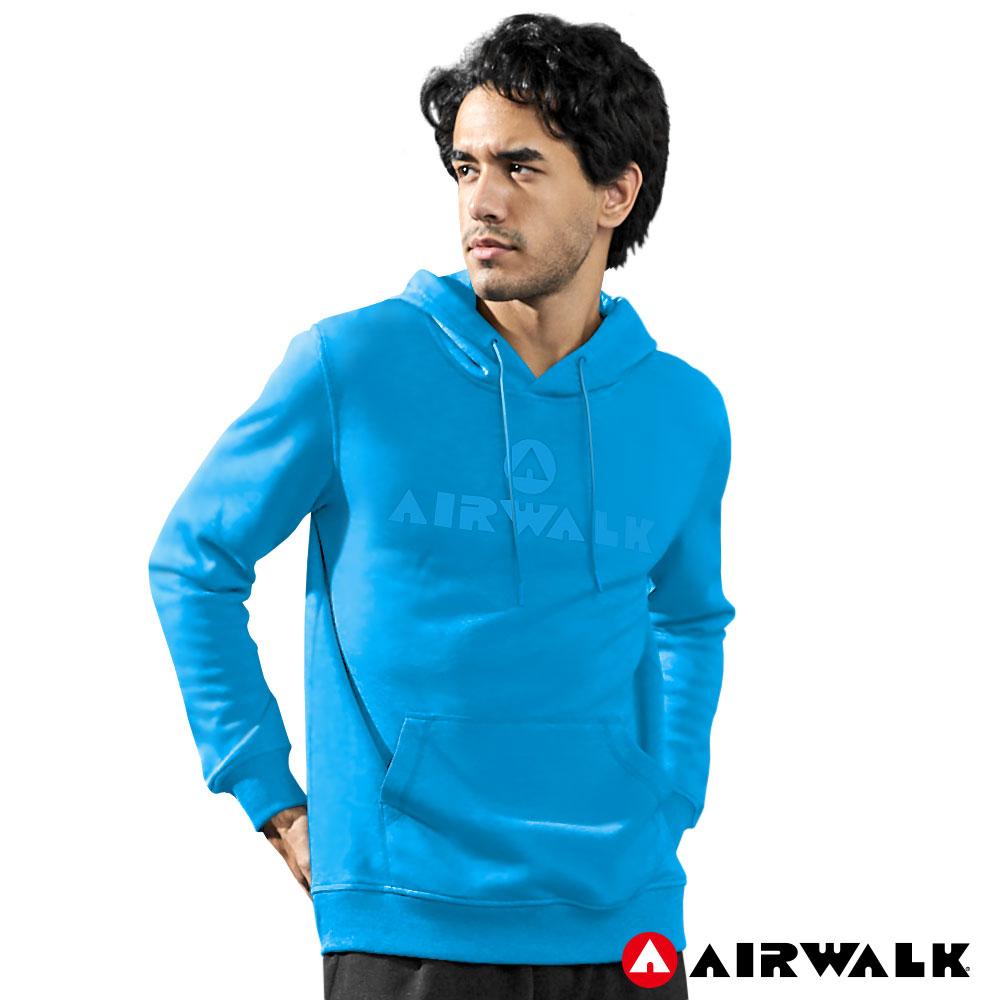 【AIRWALK】男款連帽印花T-中藍