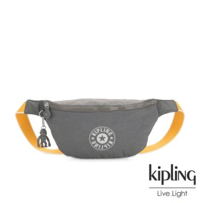Kipling 質地灰品牌經典圓標潮流隨身腰包-FRESH
