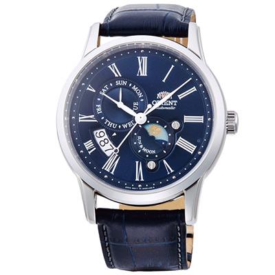 ORIENT東方SUN&MOON日月相真皮機械錶手錶SAK00005D-藍/42mm