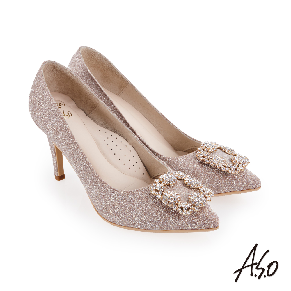 A.S.O 璀璨宴會 閃耀金蔥鑲鑽質感高跟鞋 金色