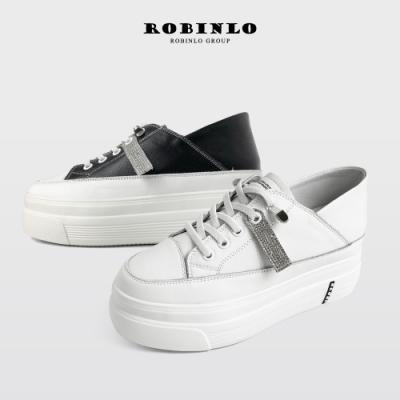 Robinlo全真皮2WAY激瘦厚底內增休閒鞋小白鞋 黑/米白