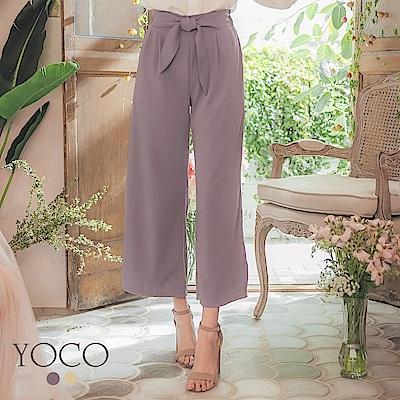東京著衣-YOCO 微甜百搭腰綁結後鬆緊打褶寬褲-S.M.L(共兩色)
