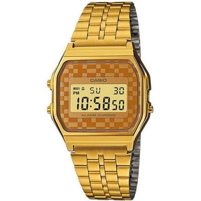 CASIO 卡西歐金色棋盤格紋復古錶-橘(A159WGEA-9A)