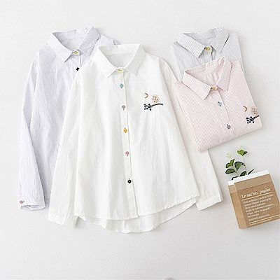DABI 韓系襯衫刺繡百搭翻領襯衣修身單品長袖上衣