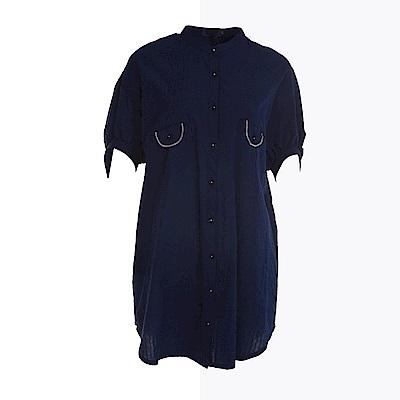 gozo 立領配色車線口袋開扣長版襯衫(深藍)