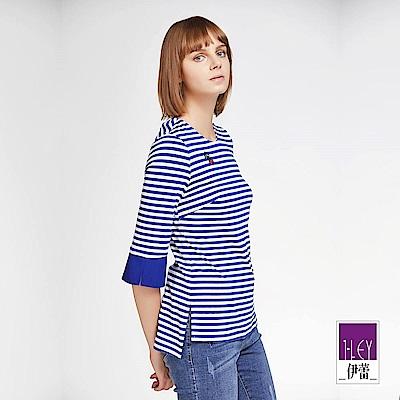 ILEY伊蕾 配色七分袖圓領條紋上衣(藍)