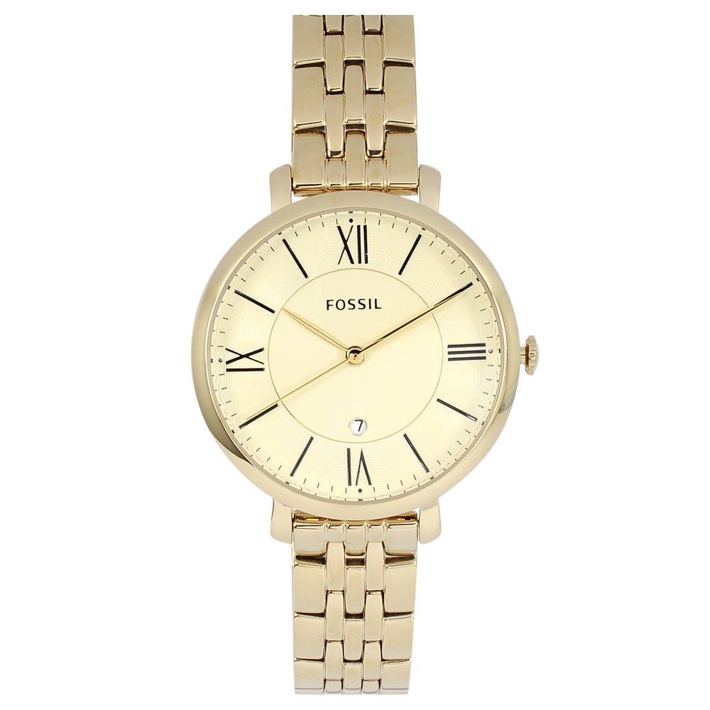 FOSSIL 美國精品手錶Jacqueline羅馬刻度黃錶盤x金錶框金屬錶帶36mm