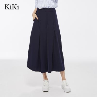【KiKi】質感優雅素面-長褲(深藍色)