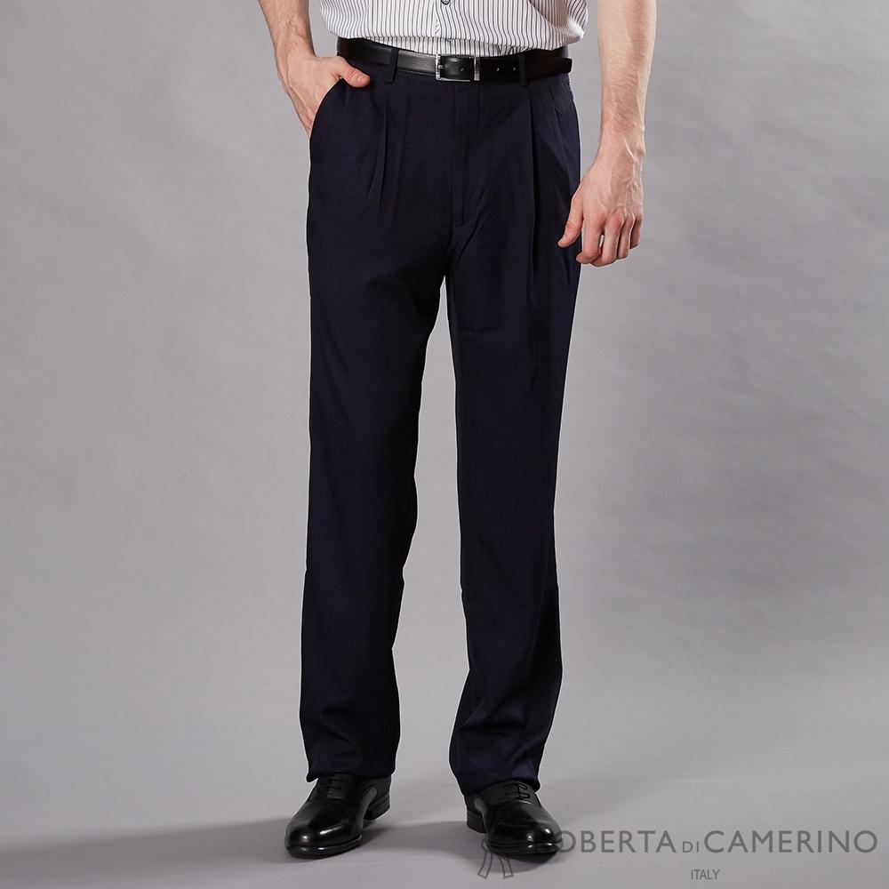 ROBERTA諾貝達 商務舒適 免燙防皺 打摺西裝褲 深藍
