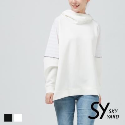 【SKY YARD 天空花園】袖口拼接網格長袖帽T-白色