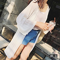 Jilli-ko 韓版中長款鏤空防曬衫- 黑/白