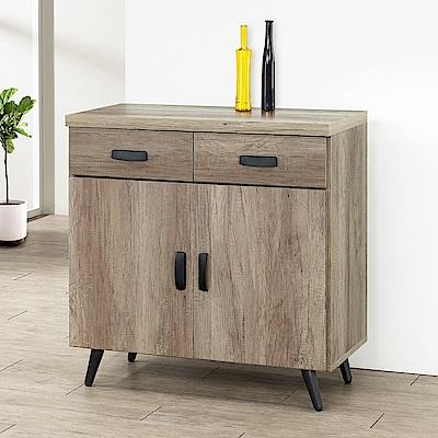 Homelike 里悟2.7尺碗盤收納櫃(古橡木)-81x41x86cm