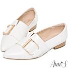 Ann'S金色D扣尖頭紳士鞋-白