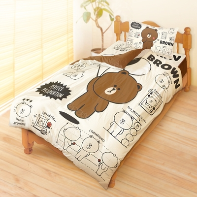 享夢城堡 單人床包雙人涼被三件組-LINE FRIENDS 熊大素描筆記-米黃