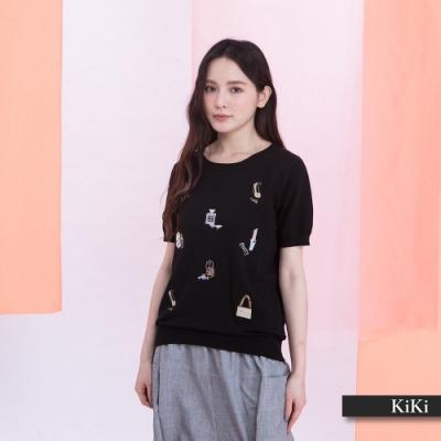 【KiKi】Shopping時尚刺繡造型-針織衫(三色/版型合身)
