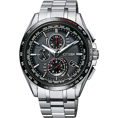 CITIZEN星辰 鈦 限量光動能電波萬年曆腕錶(AT8144-51E)-黑/41mm