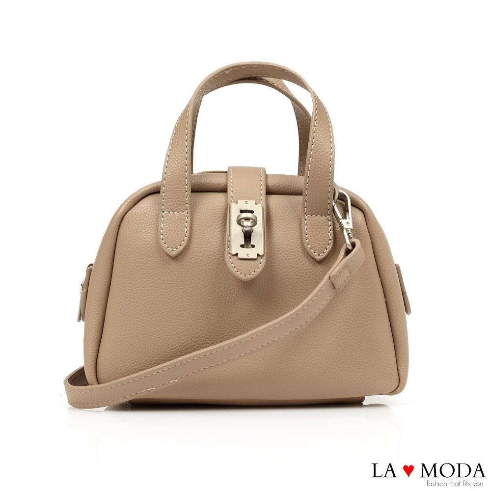La Moda 小巧CUTIE創意釦飾多背法肩背手提波士頓包(杏)