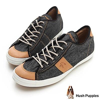 Hush Puppies 沉穩質感咖啡紗休閒鞋-黑色