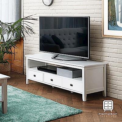 漢妮Hampton韋爾斯歐風純白電視櫃-133x49x50cm