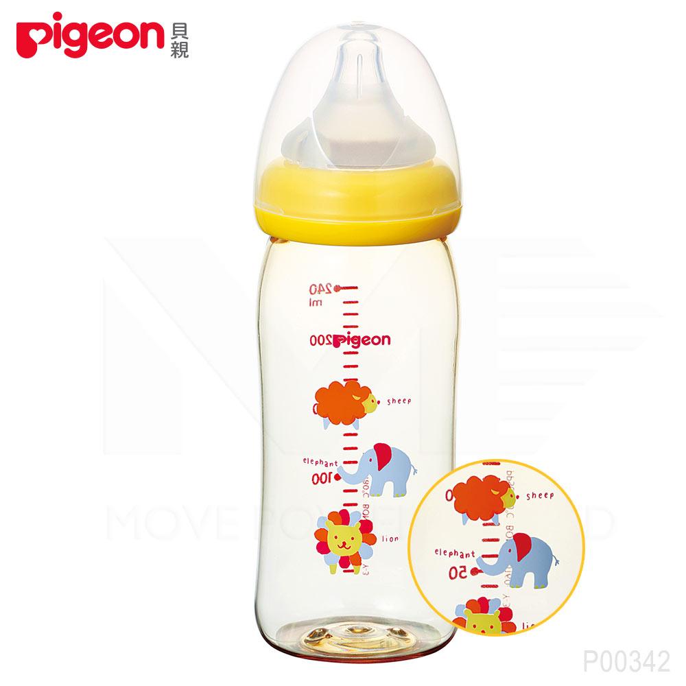【任選】日本《Pigeon 貝親》母乳實感PPSU寬口奶瓶-可愛動物【240ml】