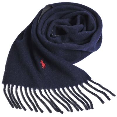 RALPH LAUREN POLO 義大利製小馬刺繡雙面羊毛圍巾(深藍/黑灰)