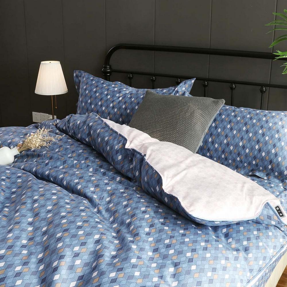 夢工場 畫格慵懶60支紗長絨棉床包兩用被組-加大