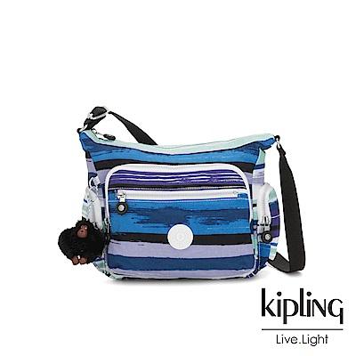 Kipling 蔚藍海岸線條塗鴉多袋實用側背包-GABBIE S