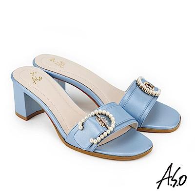 A.S.O 雅緻魅力  絨面羊皮拼接低跟涼拖鞋 淺藍