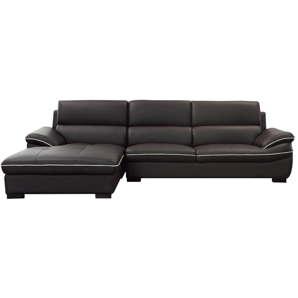 品家居 波爾多黑皮革L型沙發組合(左&右二向)-289x185x92cm免組