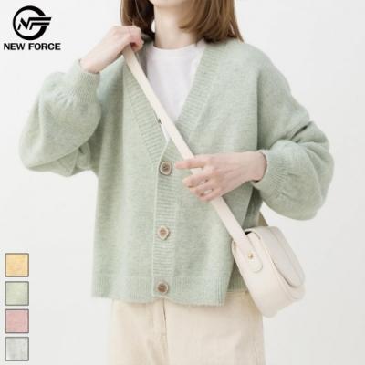 NEW FORCE 暖色系質感針織外套-抹茶綠