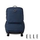 ELLE 都市再生系列 輕量多隔層搭配皮革設計機能收納筆電後背包-藍 EL83936