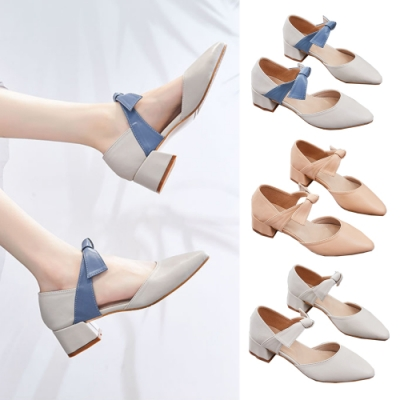LN 現+預 韓版氣質尖頭蝴蝶結單鞋(跟鞋/休閒鞋)