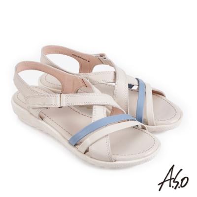 A.S.O 機能休閒 厚底美學撞色條帶魔鬼氈休閒涼鞋-米