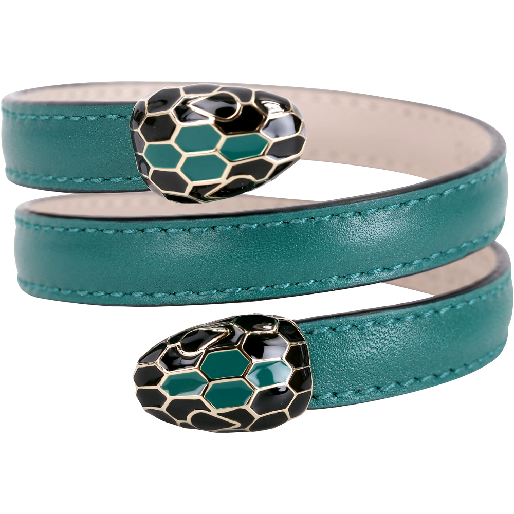 BVLGARI 寶格麗 Serpenti Forever 雙蛇頭祖母綠小牛皮三繞手環 @ Y!購物