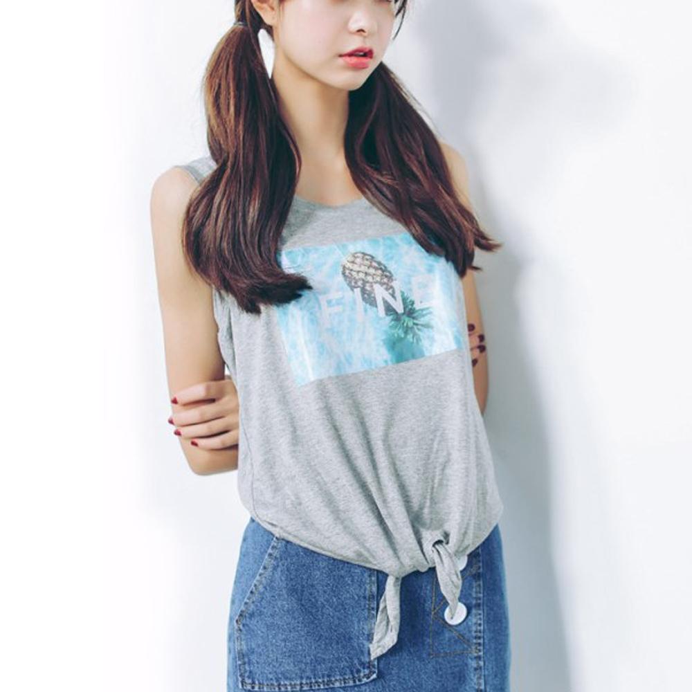 Lockers 木櫃 鳳梨印花綁帶無袖背心T恤/上衣-2色