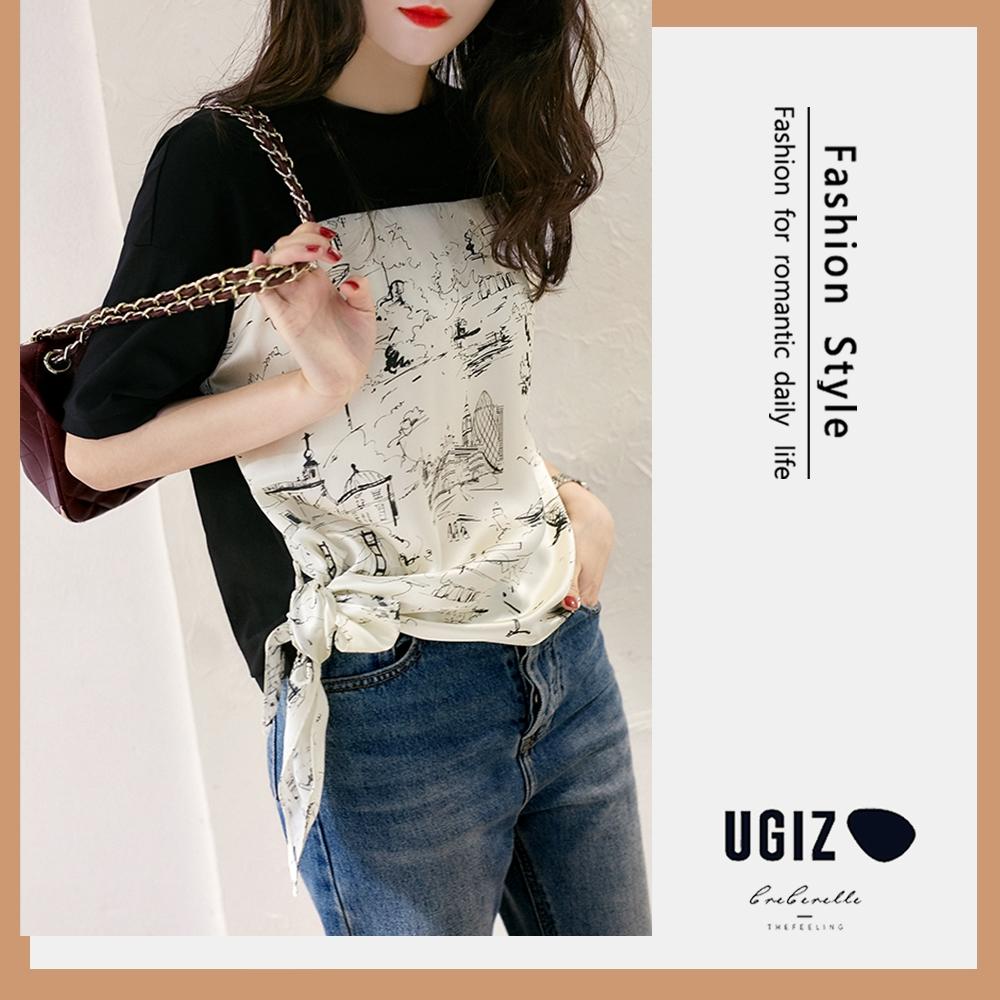 UGIZ-修身圓領雪紡側綁帶拼接造型上衣-黑色(M-XL)