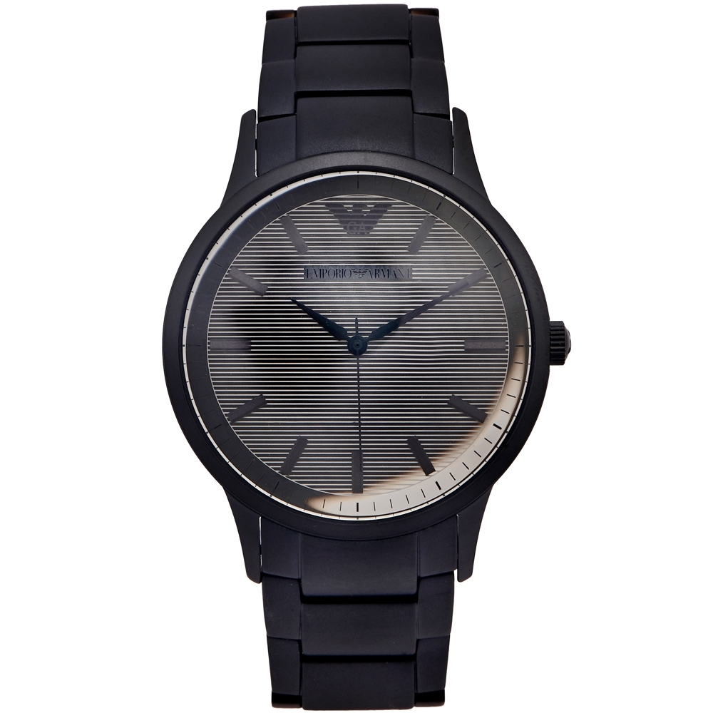 ARMANI 簡約時尚不鏽鋼錶帶手錶(AR11259)-灰面/43mm