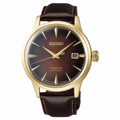 SEIKO 精工 Presage真皮機械手錶SRPD36J1-咖啡X金框/40.5mm